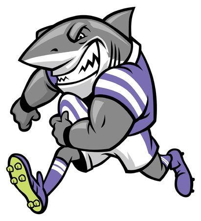 Illustration pour rugby mascot of great white shark - image libre de droit