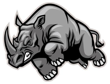 Illustration for charging rhino mascot - Royalty Free Image