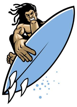 Ilustración de surfer doing surf trick - Imagen libre de derechos