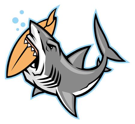 Ilustración de shark mascot bite the surf board - Imagen libre de derechos