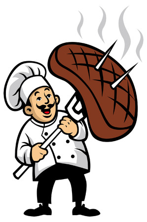 Illustration pour chef barbecue mascot hold the big meat - image libre de droit