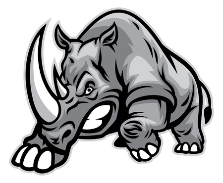 Illustration for angry rhino ready to ram - Royalty Free Image