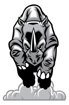 Illustration for charging rhino - Royalty Free Image
