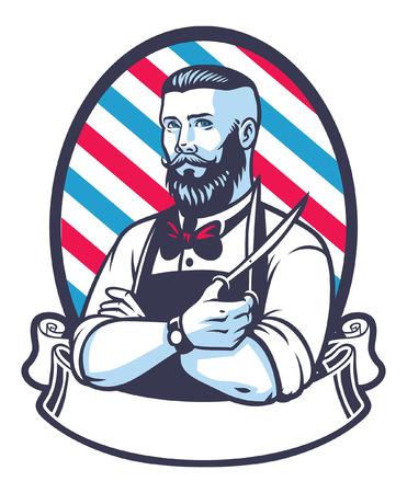 Illustration pour Retro illustration of barber man - image libre de droit