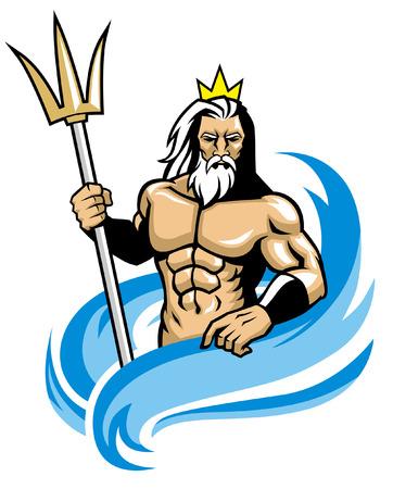 Ilustración de poseidon mascot - Imagen libre de derechos