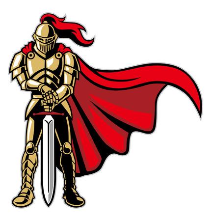 Ilustración de knight warrior with armor and cape - Imagen libre de derechos