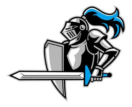 Ilustración de knight mascot ready to attack - Imagen libre de derechos