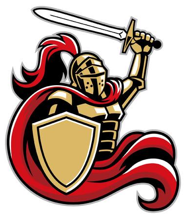 Ilustración de knight mascot hold the sword and shield - Imagen libre de derechos
