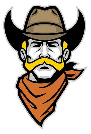 Illustration pour head mascot of cowboy - image libre de droit