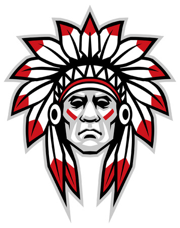 Illustration for indian head chief mascot - Royalty Free Image