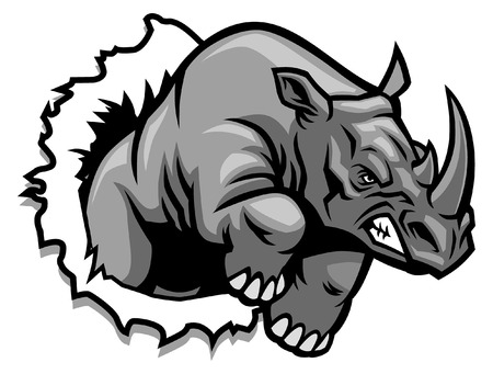 Illustration pour rhino mascot charge breaking - image libre de droit