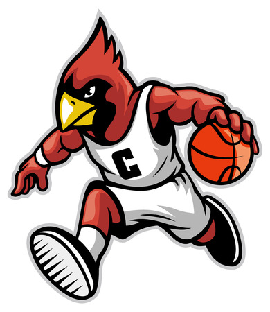 Illustration pour basketball mascot of cardinal bird dribbling the ball - image libre de droit