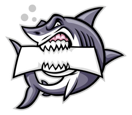 Ilustración de angry shark mascot bite the text space - Imagen libre de derechos