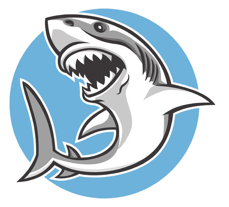 Illustration pour great white shark mascot - image libre de droit