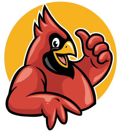 Illustration pour cardinal mascot cheerful and thumb up - image libre de droit