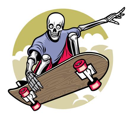 Illustration for skull riding the skateboard - Royalty Free Image