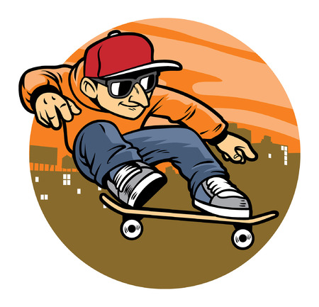 Illustration pour skate jumping on his skateboard - image libre de droit