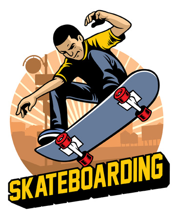 Illustration pour skater ollie the skateboard - image libre de droit