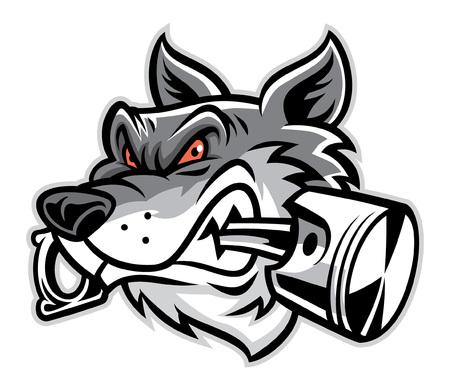 Ilustración de wolf head mascot bite the piston - Imagen libre de derechos