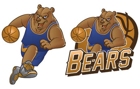 Ilustración de grizzly bear basketball mascot - Imagen libre de derechos