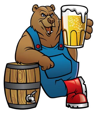 Ilustración de bear cartoon lean on the barrel and showing the beer - Imagen libre de derechos