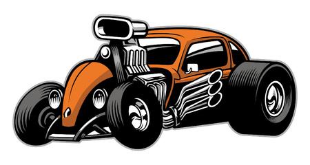 Illustration pour hot rod car with huge supercharger enginge - image libre de droit