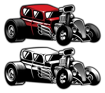 Illustration pour classic old hot rod car - image libre de droit