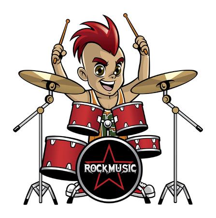 Ilustración de cartoon on kids playing drum - Imagen libre de derechos