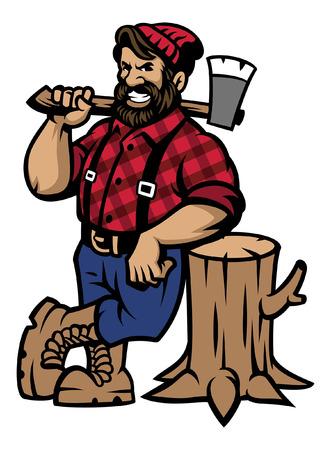 Ilustración de cartoon lumberjack mascot lean on the log wood - Imagen libre de derechos
