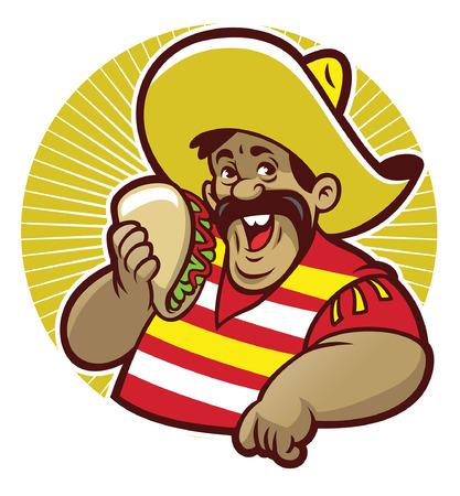 Illustration pour mascot of mexican lean and show his tacos - image libre de droit