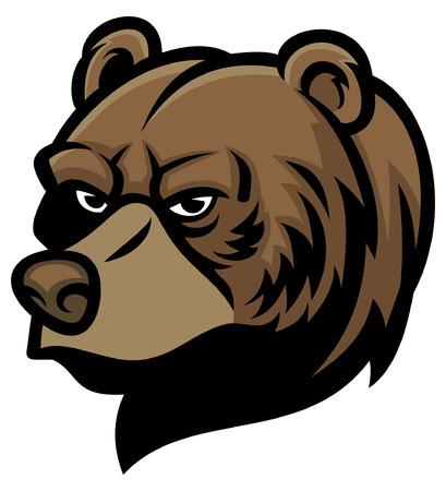 Illustration pour head of grizzly bear - image libre de droit