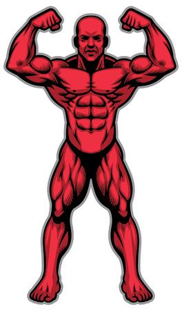 Ilustración de bodybuilder show his muscle athletic whole body - Imagen libre de derechos
