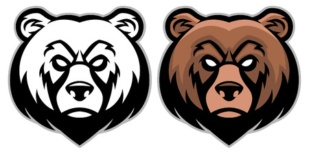 Illustration for set of bear head mascot - Royalty Free Image