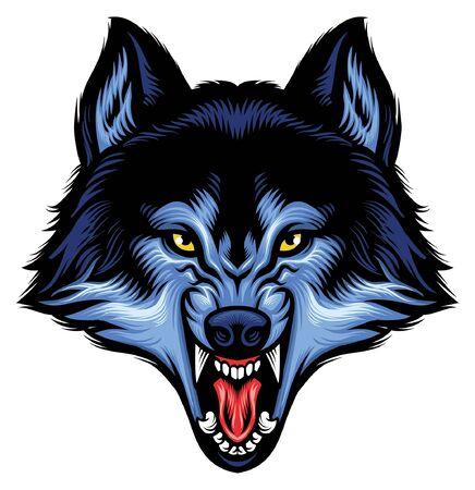 Illustrazione per angry head of roaring wolf - Immagini Royalty Free