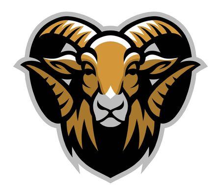 Ilustración de head mascot of horned ram - Imagen libre de derechos