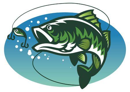 Ilustración de largemouth bass fish - Imagen libre de derechos