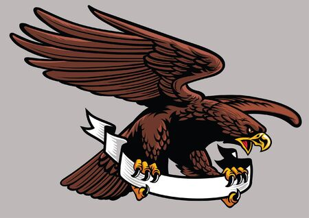 Illustration for eagle mascot hold the blank banner - Royalty Free Image