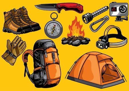 Illustration pour set of outdoor adventure objects - image libre de droit