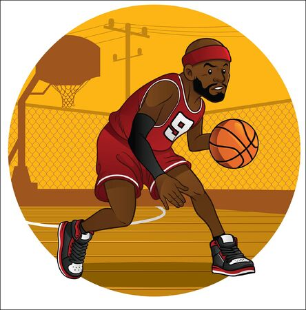 Ilustración de cartoon of basketball player in action - Imagen libre de derechos