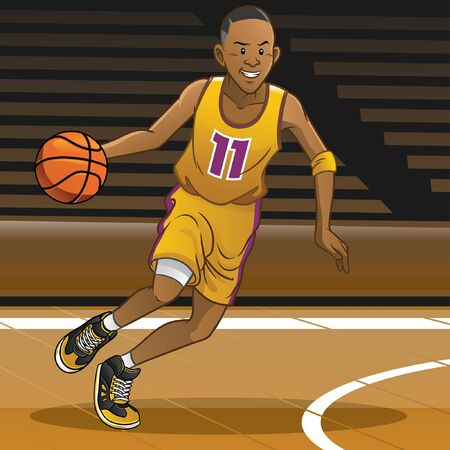 Ilustración de cartoon of basketball player dribbling the ball - Imagen libre de derechos