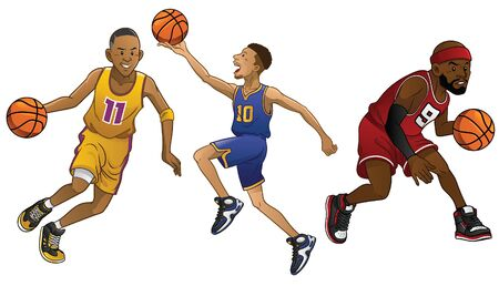 Ilustración de set of cartoon basketball player - Imagen libre de derechos