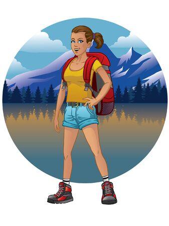 Illustration pour women tracking at the nature - image libre de droit