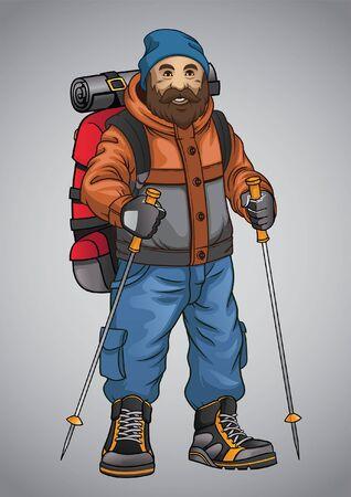 Illustration pour adventurer hiking man hold the walking pole - image libre de droit