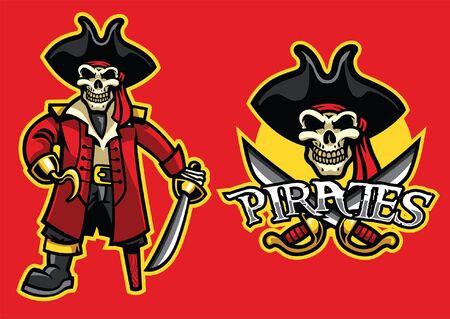 Illustrazione per set of pirate skull mascot - Immagini Royalty Free