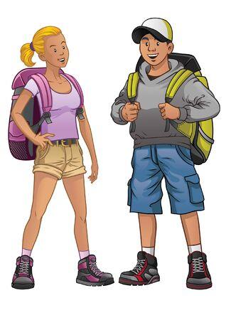 Illustration pour couple male and female of adventure people - image libre de droit