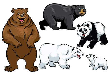 Ilustración de set of various bear in cartoon style - Imagen libre de derechos
