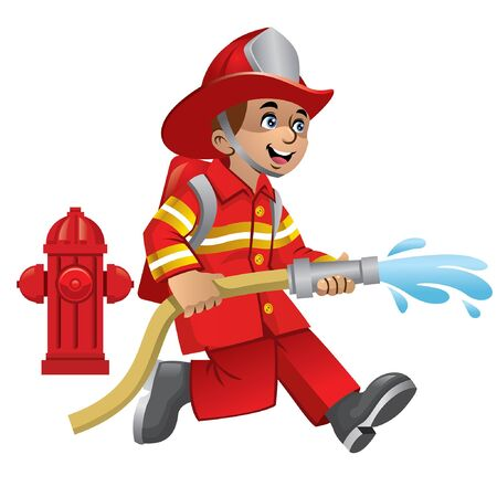 Illustration pour happy cheerful kid wearing fire fighter uniform - image libre de droit