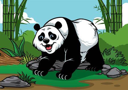 Illustration pour happy giant panda in the bamboo forest - image libre de droit