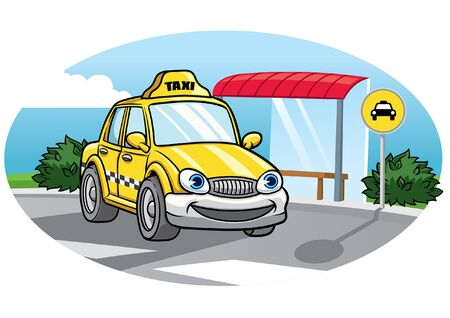 Illustration for cartoon taxi character driving at the road - Royalty Free Image