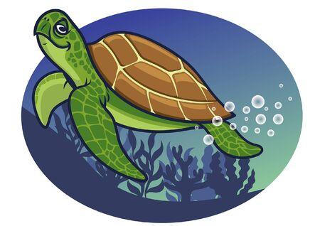 Ilustración de smiling turtle under the sea - Imagen libre de derechos